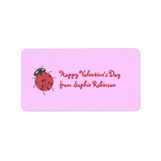 Ladybug valentine personalized sticker address label