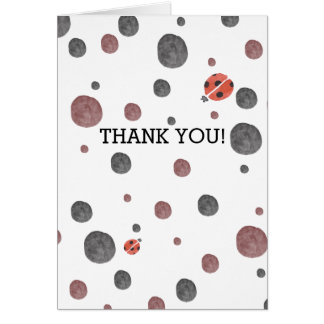 Ladybug Watercolor Dots thank you Note Card