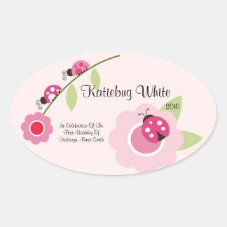 Ladybug Wine Label Oval Sticker
