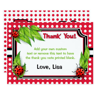 Ladybug with Polka Dots | Thank You Cards 9 Cm X 13 Cm Invitation Card