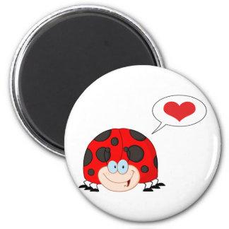 Ladybug With Speech Bubble 6 Cm Round Magnet