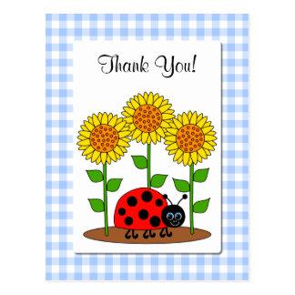 Ladybug with Sunflower Garden Thank You Postcard