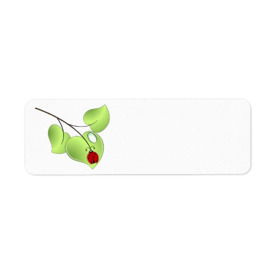 Ladybug with three leaves and a drop return address label