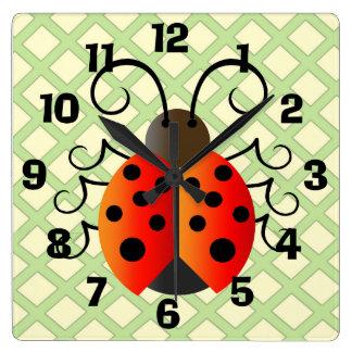 Ladybug with Trellis Square Wall Clock