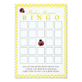 Ladybug Yellow Chevron Baby Shower Bingo Cards 9 Cm X 13 Cm Invitation Card