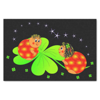 ladybugs and clovers tissue paper