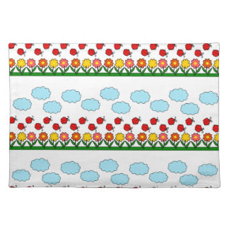 Ladybugs and flowers pattern placemat