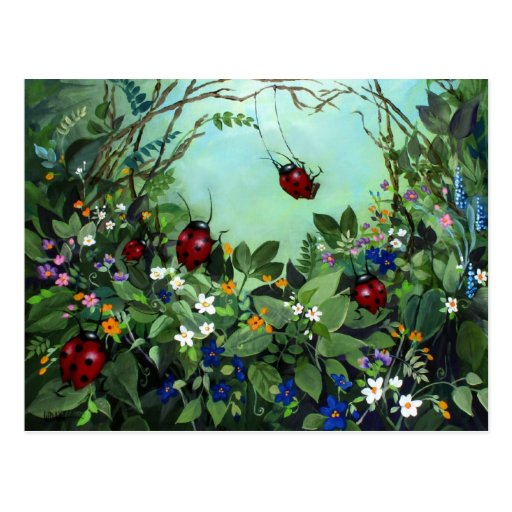 Ladybugs At Play Post Card