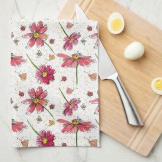 Ladybugs Bees Watercolor Flowers Tea Towel