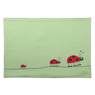 ladybugs green American MoJo Placemat Cloth Placemat