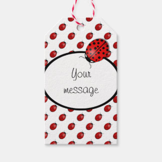 Ladybugs in red gift tags