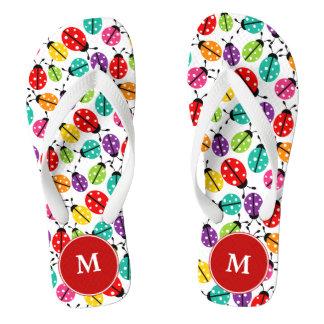 Ladybugs Monogrammed Flip-flops Thongs