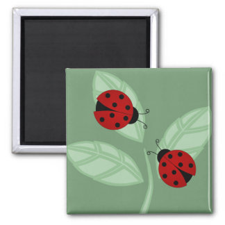 Ladybugs on Leaves Magnet
