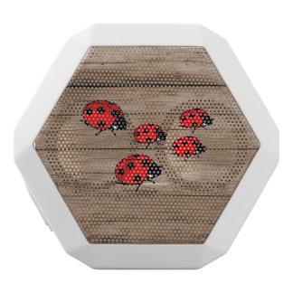 Ladybugs on Wood Board White Bluetooth Speaker