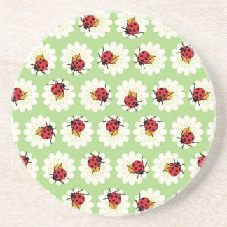 Ladybugs pattern beverage coasters