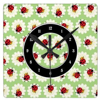 Ladybugs pattern clocks
