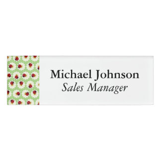Ladybugs pattern name tag