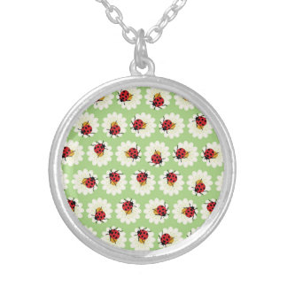 Ladybugs pattern silver plated necklace