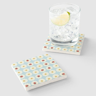 Ladybugs pattern stone beverage coaster