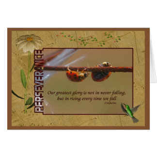 Ladybugs Perseverance Inspirational Quote Card