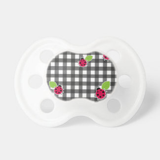 Ladybugs plaid pattern baby pacifiers