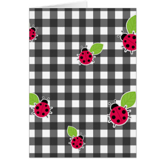 Ladybugs plaid pattern card