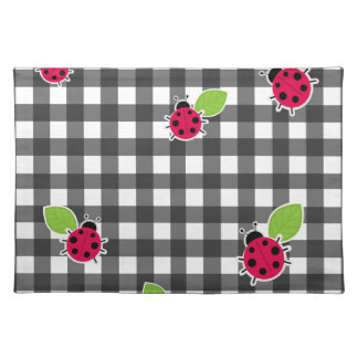 Ladybugs plaid pattern placemat