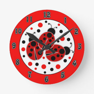 Ladybugs Polka Dots Wall Clock
