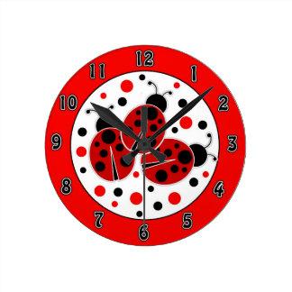 Ladybugs Polka Dots Wall Clock