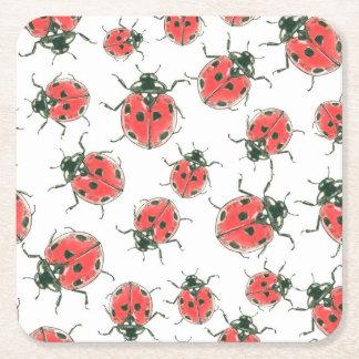 Ladybugs Square Paper Coaster
