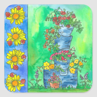 Ladybugs Sunflowers Buckets of Watercolor Flowers Square Sticker