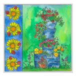 Ladybugs Sunflowers Red Roses Watercolor Flowers Poster