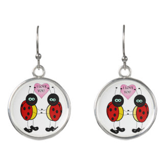 Ladybugs together holding hands in love earrings