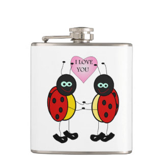 Ladybugs together holding hands in love hip flask