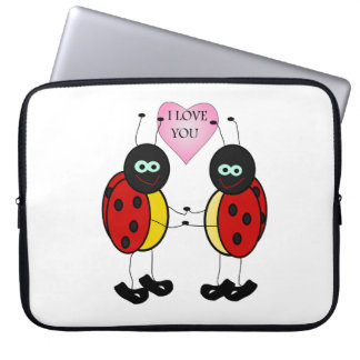 Ladybugs together holding hands in love laptop sleeve