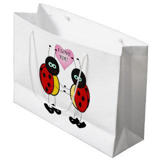 Ladybugs together holding hands in love large gift bag