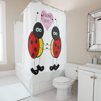 Ladybugs together holding hands in love shower curtain