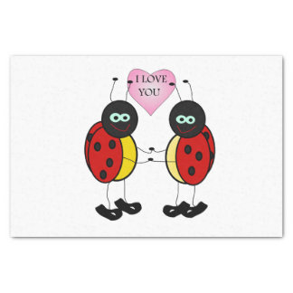 Ladybugs together holding hands in love tissue paper