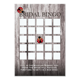 Ladybugs Wood Background Bridal Shower Bingo Cards 9 Cm X 13 Cm Invitation Card