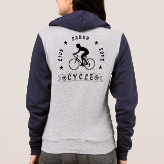 Lady's Live Laugh Love Cycle text (blk) Hoodie