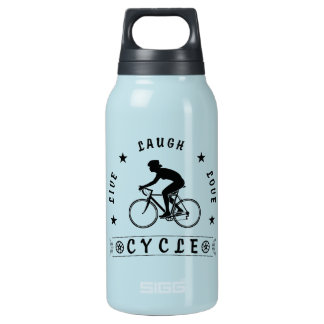 Lady's Live Laugh Love Cycle text (blk) Insulated Water Bottle