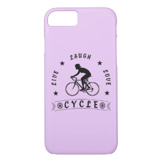 Lady's Live Laugh Love Cycle text (blk) iPhone 8/7 Case