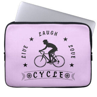 Lady's Live Laugh Love Cycle text (blk) Laptop Sleeve