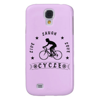 Lady's Live Laugh Love Cycle text (blk) Samsung Galaxy S4 Covers