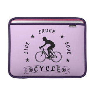 Lady's Live Laugh Love Cycle text (blk) Sleeve For MacBook Air