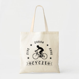 Lady's Live Laugh Love Cycle text (blk) Tote Bag