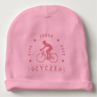 Lady's Live Laugh Love Cycle text (pink) Baby Beanie