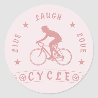 Lady's Live Laugh Love Cycle text (pink) Classic Round Sticker