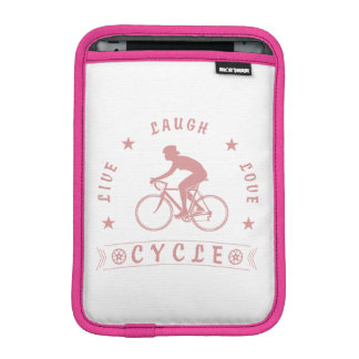 Lady's Live Laugh Love Cycle text (pink) iPad Mini Sleeve