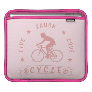 Lady's Live Laugh Love Cycle text (pink) iPad Sleeve